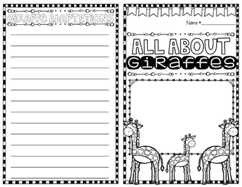 All About Giraffes Nonfiction Research Booklet