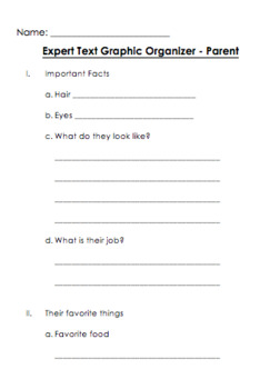 All About Graphic Organizer - Person