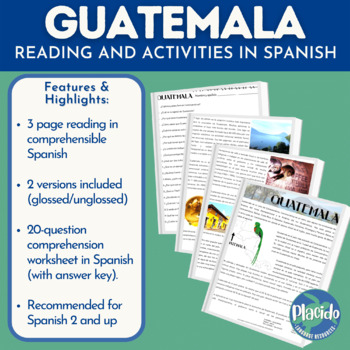 All About Guatemala Country Study Reading and Comprehension Questions