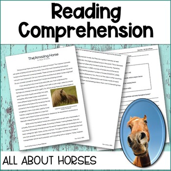 Reading Comprehension Passages and Questions for 4th Grade All About Horses