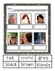ESL Hair Color Vocabulary Cards and Practice Sheet for ELLs
