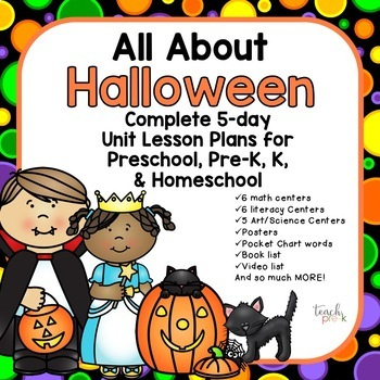 All About Halloween  5-Day Lesson plans for Preschool, Pre
