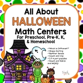All About Halloween!  Math Centers for Preschool, Pre-K, K & Homeschool