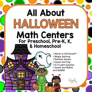 All About Halloween!  Math Centers for Preschool, Pre-K, K