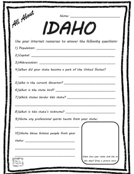 All About Idaho - Fifty States Project Based Learning Worksheet