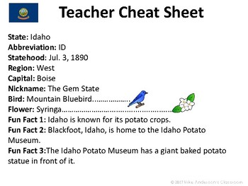 All About Idaho | US States | Activities & Worksheets