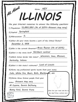 All About Illinois - Fifty States Project Based Learning Worksheet