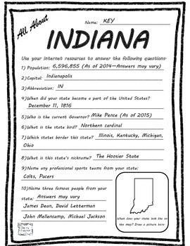 All About Indiana - Fifty States Project Based Learning Worksheet