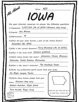 All About Iowa - Fifty States Project Based Learning Worksheet