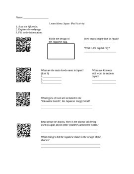 All About Japan QR Code Worksheet