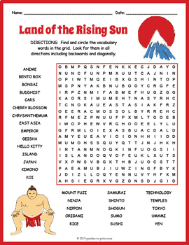 Japanese Culture Worksheet - All About Japan Word Search by ...