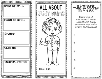 All About Judy Blume - Biography Research Project - Interactive Notebook