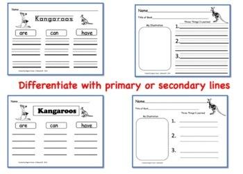 Kangaroos, Writing Activities, Graphic Organizers, Diagram
