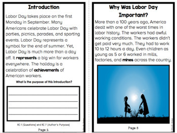 All About Labor Day An Informational Text Interactive Reader