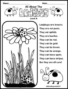 All About Ladybugs Multi-Level Reading Passages