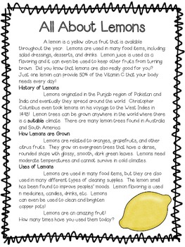 All About Lemons ~ A Non-Fiction Reading Assessment Prompt