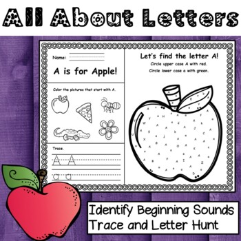 All About Letters Aa-Zz - (Identify Beginning Sounds, Trace, and Hunt)