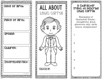 All About Lewis Carroll - Biography Research Project - Interactive Notebook
