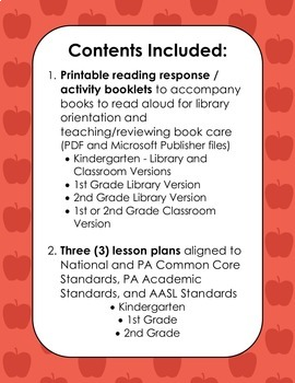 All About Libraries & Book Care Unit (K-2 Activity Booklets & Lesson Plans)