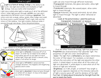 Light Energy - Minibook and Activities