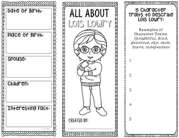 All About Lois Lowry - Biography Research Project - Interactive Notebook