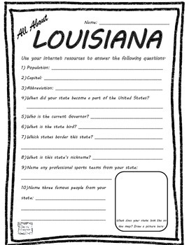 All About Louisiana - Fifty States Project Based Learning Worksheet