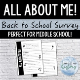All About ME! Back to School Survey for Middle School (Pri