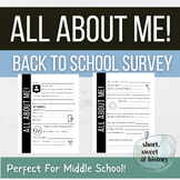 All About ME! Back to School Student Survey for Middle School