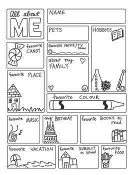 image relating to All About Me Free Printable Worksheets known as All With regards to ME FREEBIE via Science Math Doodles