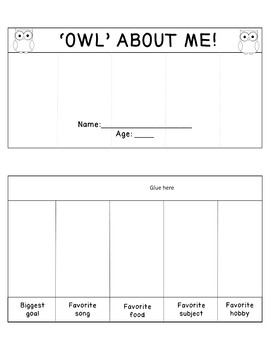 All About ME  Horizontal Foldable