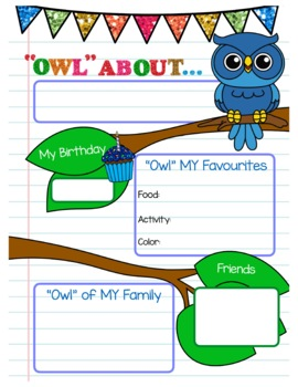 All About ME Owl Theme Pennant