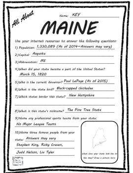 All About Maine - Fifty States Project Based Learning Worksheet