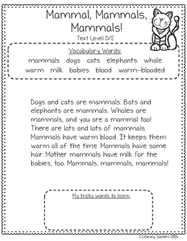 All About Mammals: CCSS Aligned Leveled Reading Passages and Activities