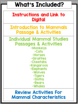 Mammals Nonfiction Unit