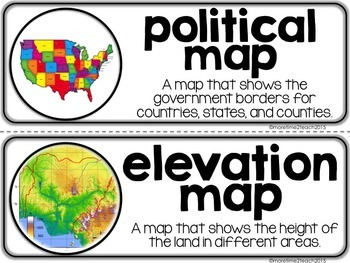Maps Skills Unit: Informational Text + Assessments + Vocab. Cards + Activities