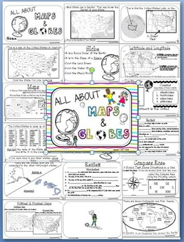 All About Maps and Globes Activity Book w/ Assessment Included