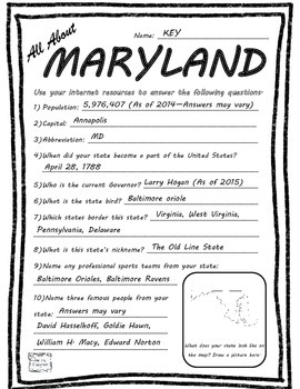 All About Maryland - Fifty States Project Based Learning Worksheet