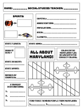 All About Maryland Worksheet