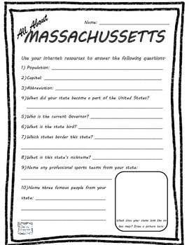All About Massachusetts - Fifty States Project Based Learning Worksheet
