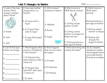 All About Matter & Changes in Matter Test *Science Fusion*