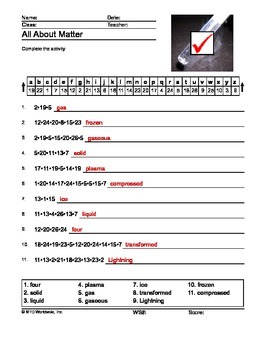 All About Matter Secret Code Printable