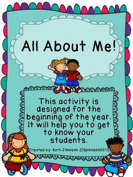 All About Me! Beginning of the Year Student Information