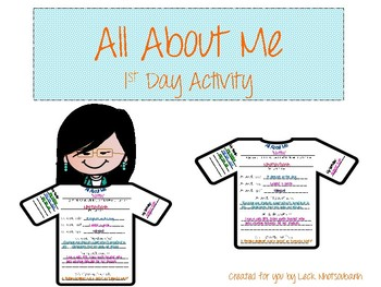 All About Me, 1st Day Activity