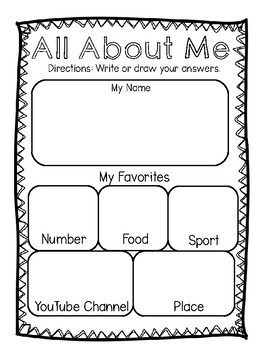 All About Me (1st and 2nd Grade)-Back to School-Getting to Know You