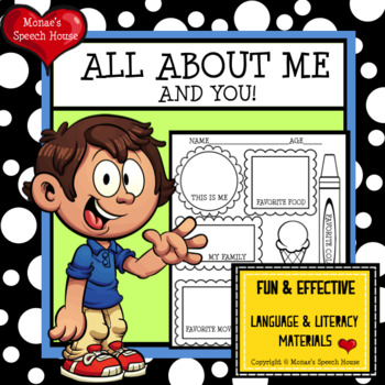 All About Me Back to School Early Reader Speech Therapy Social Skills PreK
