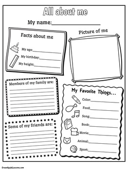 All About Me Template | All About Me Worksheet