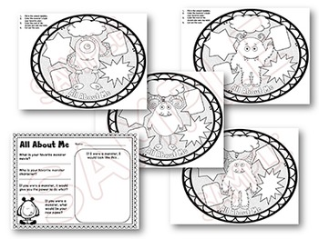 First Day of School activities MONSTER All About Me printables Back to School