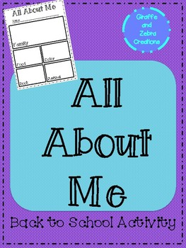 All About Me (Back to School Activity)