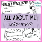 Student Info Sheet-All About Me