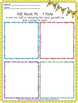 All About Me 4 Facts Worksheet